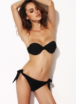 Black Fashion bra moderate rise Bikini suit
