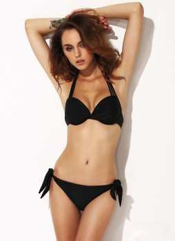 Black Sexy  moderate Add-2-cups Push-up Halter Bikini suit
