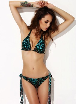 Blue/Black printing Sexy  triangle cup Bikini suit