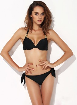 Black Metal Decorative Bikini Suit