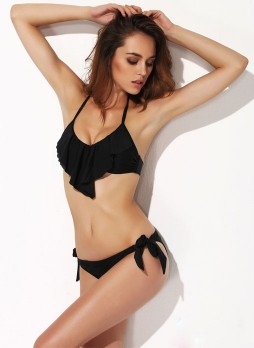 Black Fashion Flounce Bikini Suit