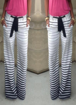 Wide Legs Fading Color Striped Pants