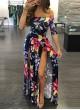 Build In Shorts Off Shoulder Floral Maxi Dress