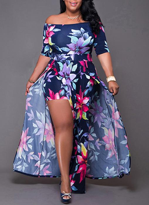 35ccf4c83c3e Build In Shorts Off Shoulder Floral Maxi Dress