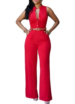 Belted Front Button Up Jumpsuit