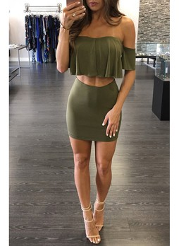 2 Piece Dress with  Crop Top and  Mini Skirt