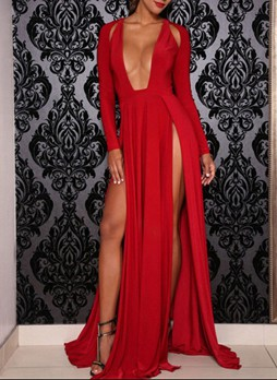 Deep Plunging Neckline Multiple Long Slits Maxi Dress
