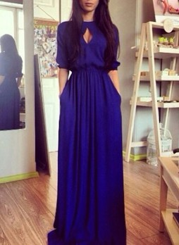 Mid Length Sleeves Evening Gown