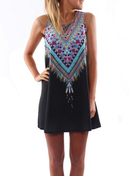 Multicolored Print Sleeveless  Vintage Swing Style Shift Dress