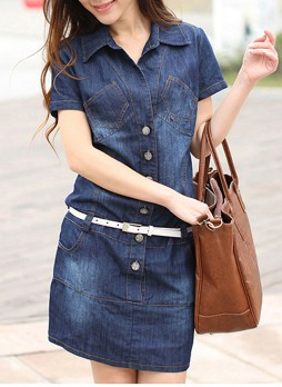 Denim Dress with Belted