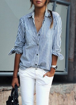 Button Stripes Down Shirt