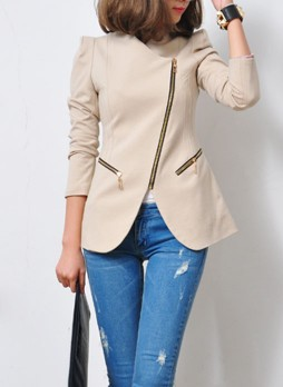 Apricot Collarless Coat