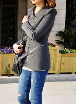 Dark Grey Collarless Coat