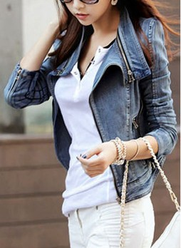 Blue Denim Moto Jackets