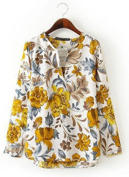 V Neck Long Sleeve Floral Blouse-White