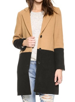 Camel Black Long Sleeve Color Block Coat