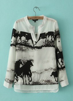 White V Neck Long Sleeve Horse Print Blouse
