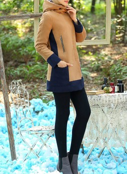 Color-Contrast Hooded Coat
