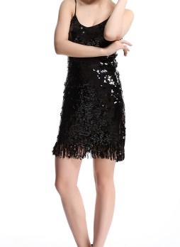 Black Sequined Slip Dress
