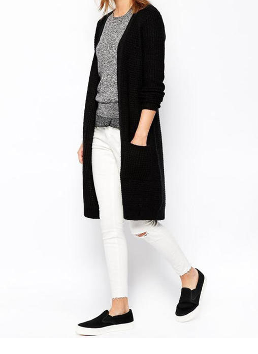 Black Long-Knit Cardigan
