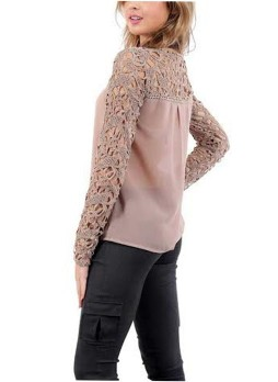 Neutral Pink Crochet Shoulder Top