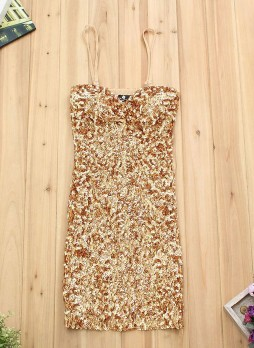 Gold Sequin Slip Dress